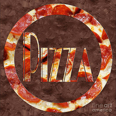 Photograph - Pepperoni Pizza Typography 1 by Andee Design