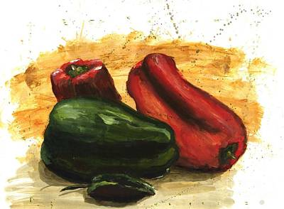 Bell Pepper Painting - Peppers In A Flash by Maria Hunt