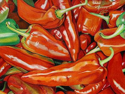 Peppers Art Print by Mary Strehl