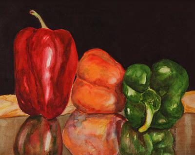 Painting - Peppers On The Table  by Bobbin