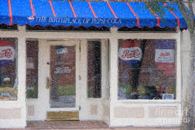 Storefront Digital Art - Pepsi Cola Birthplace Watercolor by Jill Lang