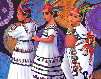 Painting - Pequenos Guerreros Aztecas by Susan Santiago