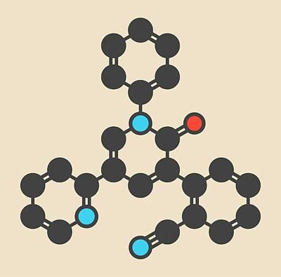 Perampanel Epilepsy Drug Molecule Art Print by Molekuul