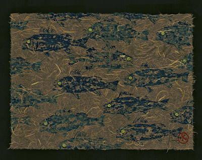 Perch School On Mocha Unryu Paper Original by Jeffrey Canha