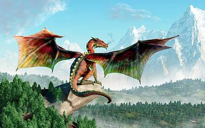 Tolkien Digital Art - Perched Dragon by Daniel Eskridge