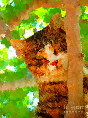 Digital Art - Perched In A Tree Colorful by Holley Jacobs