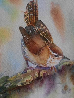 Carolina Wren Painting - Perched by Patricia Pushaw