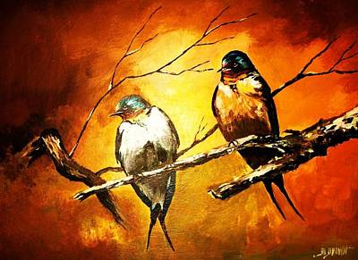 Painting - Perched Swallows by Al Brown