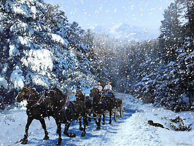 Percheron Team In Snow Art Print by Ric Soulen