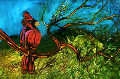 St. Louis Painting - Perching Cardinal by SHERRY Salant