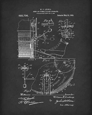 Playing Drawing - Percussion System 1909 Patent Art Black by Prior Art Design