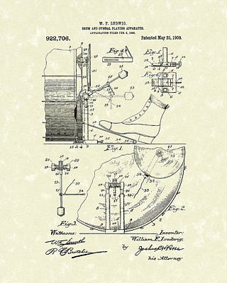 Ludwig Drawing - Percussion System 1909 Patent Art by Prior Art Design