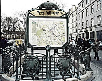 Paris Pere Lachaise Metro Station Map And Pere Lachaise Art Nouveau Architecture Art Print by Kathy Fornal