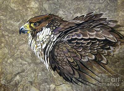 Amate Bark Paper Painting - Peregrine Falcon by Anne Shoemaker-Magdaleno