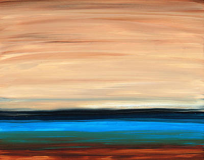 Perfect Calm - Abstract Earth Tone Landscape Blue Art Print by Sharon Cummings