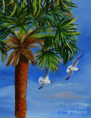 Art Print featuring the painting Perfect Flight  Palm Tree And Seagulls by Shelia Kempf