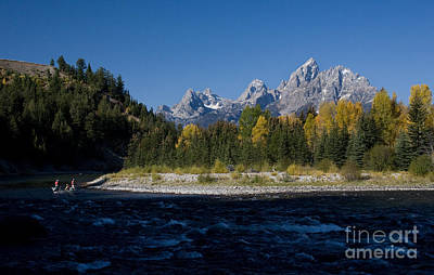 Perfect Spot For Fishing With Grand Teton Vista Art Print
