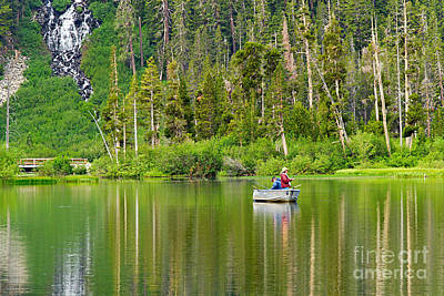 Perfect Sunday - Two People Fishing On A Lake In Mammoth California. Print by Jamie Pham