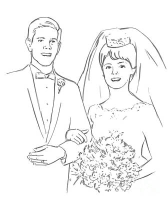 Art Print featuring the drawing Perfect Wedding by Olimpia - Hinamatsuri Barbu
