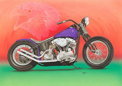 Shift Painting - Harley Davidson  Shovel Head by Mark Zelenkovich