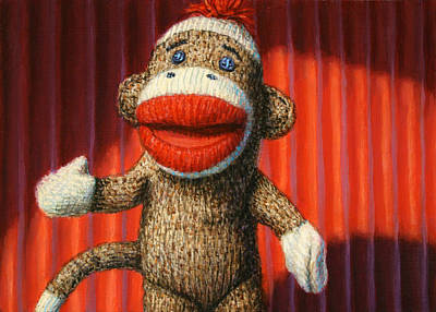 Monkey Painting - Performing Sock Monkey by James W Johnson