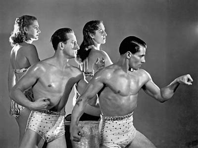 Bare-chested Photograph - Performing Troupe Strike Pose by Underwood Archives