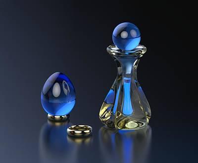 Glass Digital Art - Perfume Bottle - Hint Of Blue by Hakon Soreide