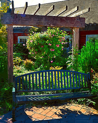 Hanging Baskets Painting - Pergola And Bench by Kirt Tisdale