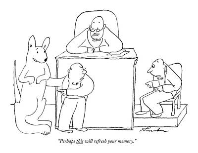 Kangaroo Drawing - Perhaps This Will Refresh Your Memory by James Thurber