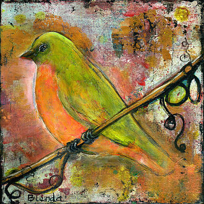 Copper Wire Painting - Peridot Bird by Blenda Studio