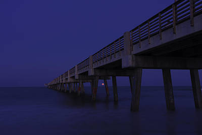 Photograph - Perigee Moonrise Under Pier At Jacksonville Beach by Karen Stephenson
