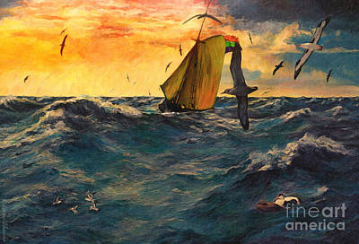 Tern Digital Art - Peril At Sea by Lianne Schneider