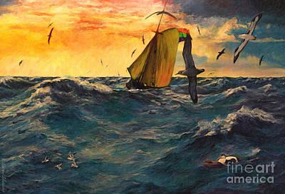 Animals Digital Art - Peril at Sea by Lianne Schneider
