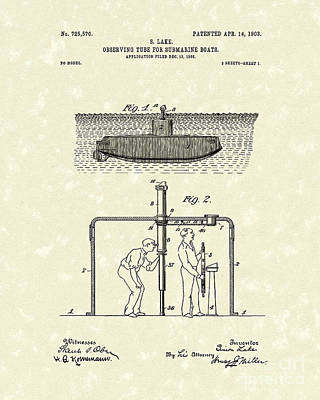 Lake Drawing - Periscope 1903 Patent Art by Prior Art Design