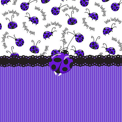 Digital Art - Periwinkle Ladybugs by Debra  Miller