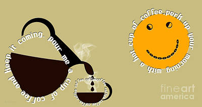 Yellow Digital Art - Perk Up With A Cup Of Coffee 12 by Andee Design