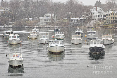 Perkins Cove Lobster Boats In Snow Art Print by Katherine Gendreau
