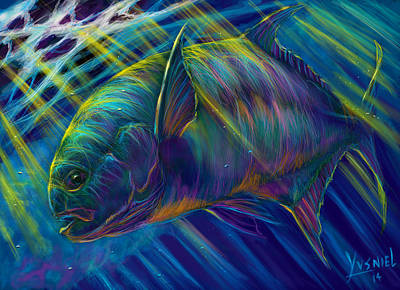 Cobia Digital Art - Permit To Greatness  by Yusniel Santos