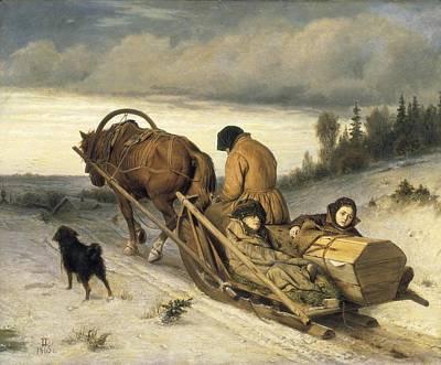 Perov, Vasily 1833-1882. Seeing-off Art Print
