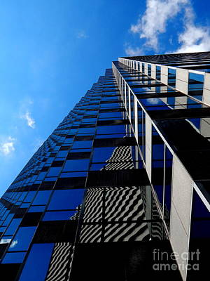 Photograph - Skyscraper Office Towner Perpendicular Abstract Blues by Michael Hoard