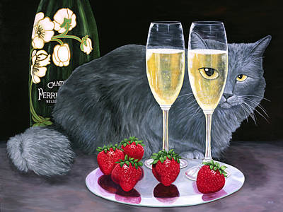 Art Print featuring the painting Perrier Jouet Et Le Chat by Karen Zuk Rosenblatt