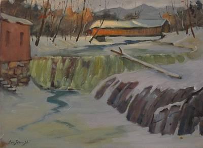 Perrines Covered Bridge Art Print by Len Stomski