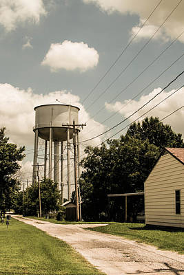 Photograph - Perry Water Tower From Alley by Nathan Hillis