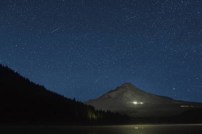 Trail Photograph - Perseid Meteor Shower At Trillium Lake 2013 by David Gn