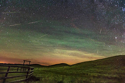 Perseid Meteor Shower Looking North 2016 Art Print by Alan Dyer