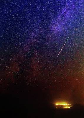 Perseid Meteor Track Over Santorini Art Print