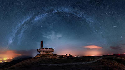 Chimney Photograph - Perseids Over Buzludzha by Ruslan Asanov