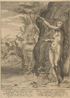 Gorgon Drawing - Perseus And Andromeda by Willem Isaacsz. Van Swanenburg And Petrus Scriverius And Johannes Janssonius