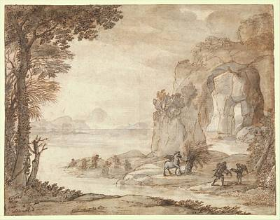 Sepia Ink Drawing - Perseus And The Origin Of Coral by Claude Lorrain