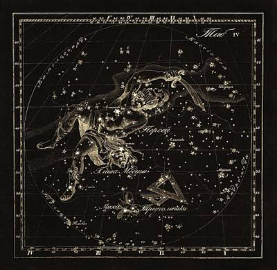 Perseus Constellations, 1829 Art Print